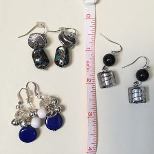 Jewelry - 3 Pairs of Mixed Metal & Stone Drop Earrings